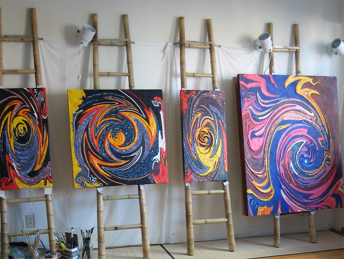 Inside of Lee McIntyre, Vancouver Inner Landscape Artist's studio with several large paintings in progress